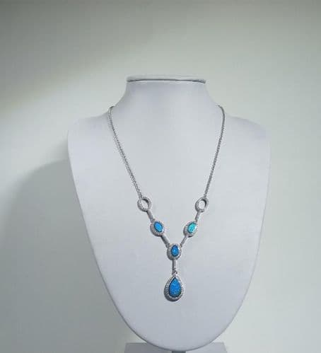 925 Sterling Silver Hand Crafted Necklace Set With Opal and CZ Stones.